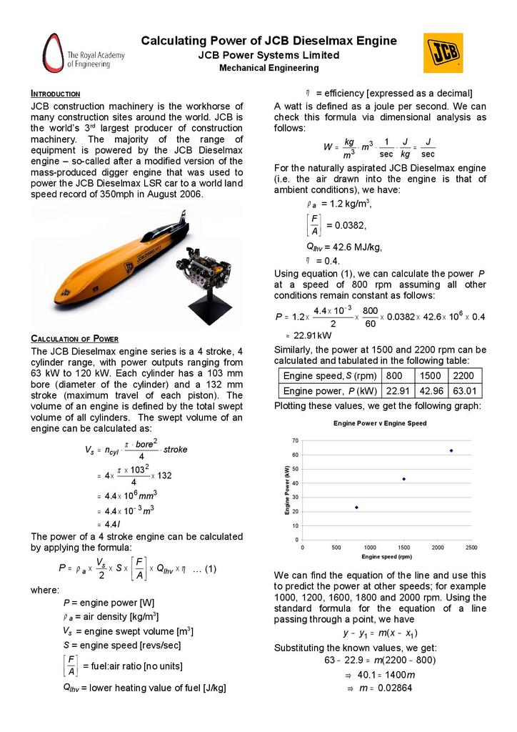 Calculating Power of JCB Dieselmax Engines | STEM