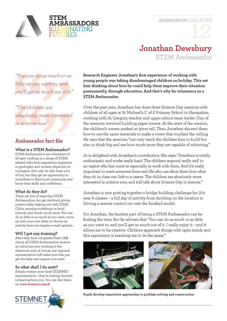 Activity Case Study 12: Jonathan Dewsbury | STEM