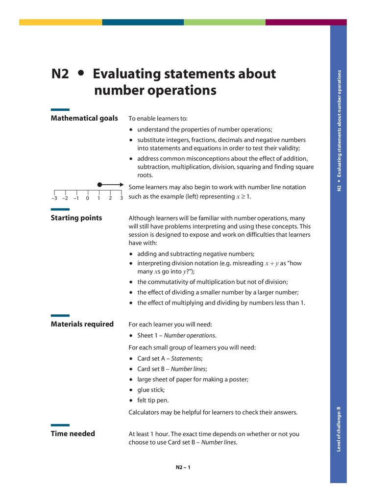 Evaluating Statements about Number Operations N2   STEM