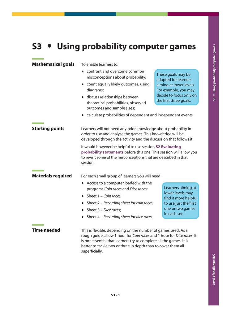 Using Probability Computer Games S3 | STEM