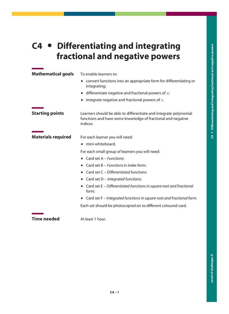 differentiating and integrating fractional and negative powers c  stem differentiating and integrating fractional and negative powers  kb