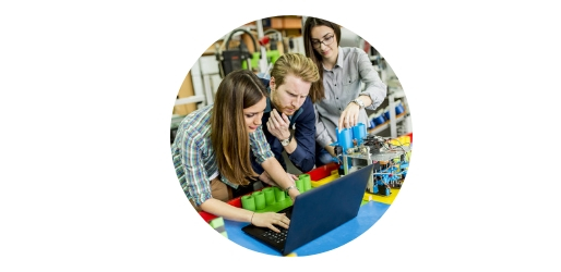 Young people studying engineering