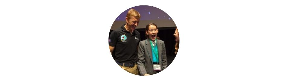 Honorary STEM Ambassador, Tim Peake, with schoolchildren at the UK Space Conference 2019