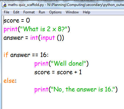 Python program in IDLE with text highlighted in different colours and font enlarged and changed to Comic Sans
